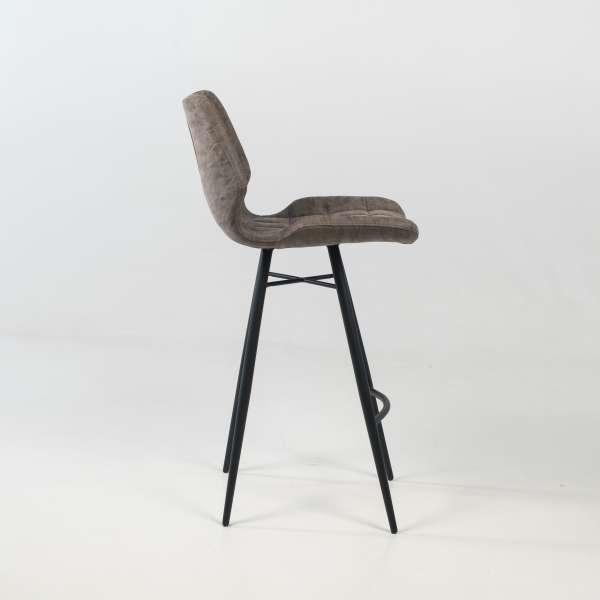 Tabouret design inspiration vintage coque matelassée patinée gris mat et pieds en métal noir - Impia - 8