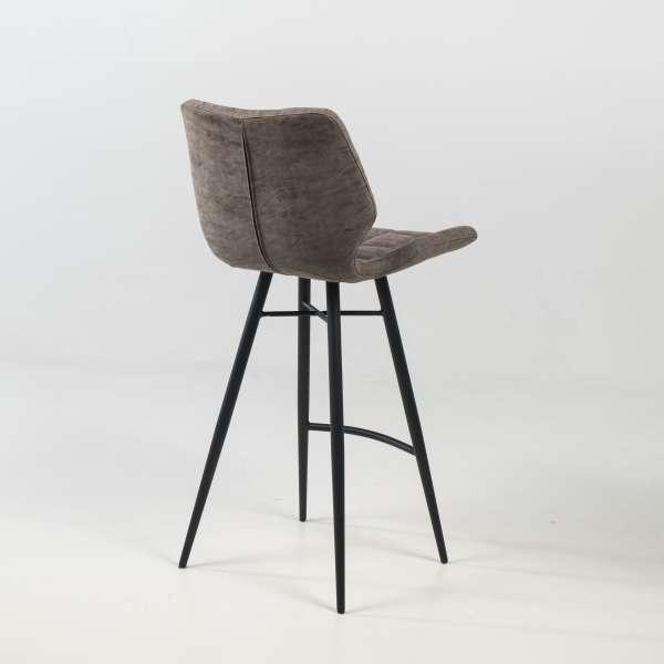 Tabouret design inspiration vintage coque matelassée patinée gris mat et pieds en métal noir - Impia - 9
