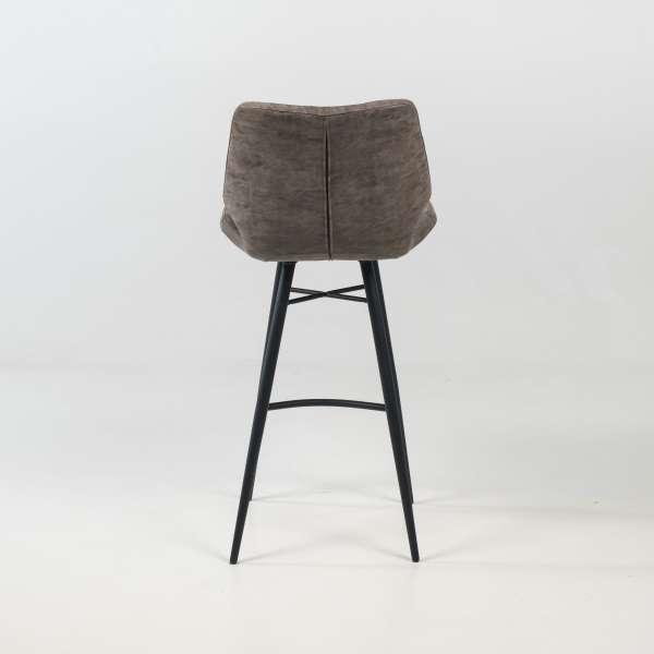 Tabouret design inspiration vintage coque matelassée patinée gris mat et pieds en métal noir - Impia - 10