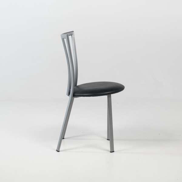 Chaise de cuisine à barreaux avec assise noire rembourrée et pieds en métal - Era - 5