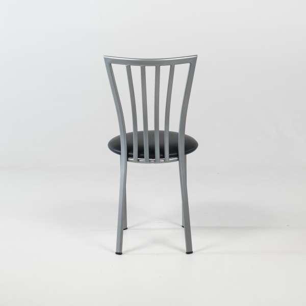 Chaise de cuisine à barreaux avec assise rembourrée et pieds en métal alu verni - Era - 7