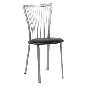 Chaise de cuisine à barreaux italienne en synthétique noir et métal alu verni - Fanny