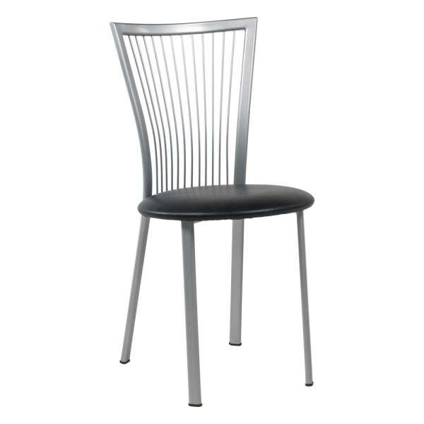 Chaise de cuisine à barreaux italienne en synthétique noir et métal alu verni - Fanny - 1
