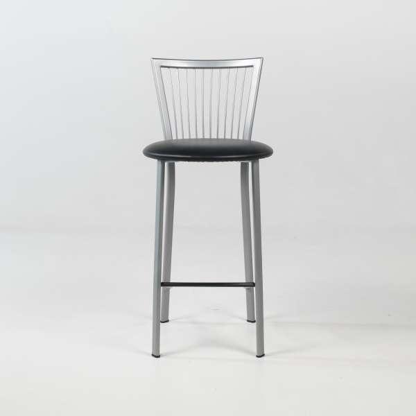 Tabouret snack avec assise noire et pieds et dossier à barreaux en métal - Fanny - 2