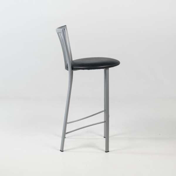 Tabouret hauteur snack avec assise noire ronde rembourrée et pieds et dossier à barreaux en métal - Fanny - 3