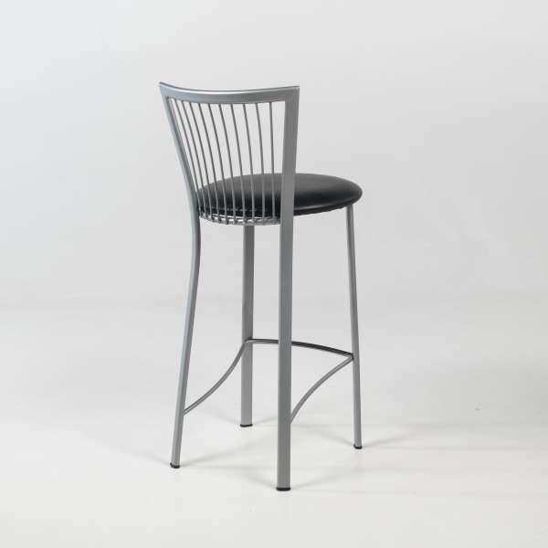 Tabouret hauteur 65 cm avec assise ronde noire rembourrée et pieds et dossier à barreaux en métal - Fanny - 4