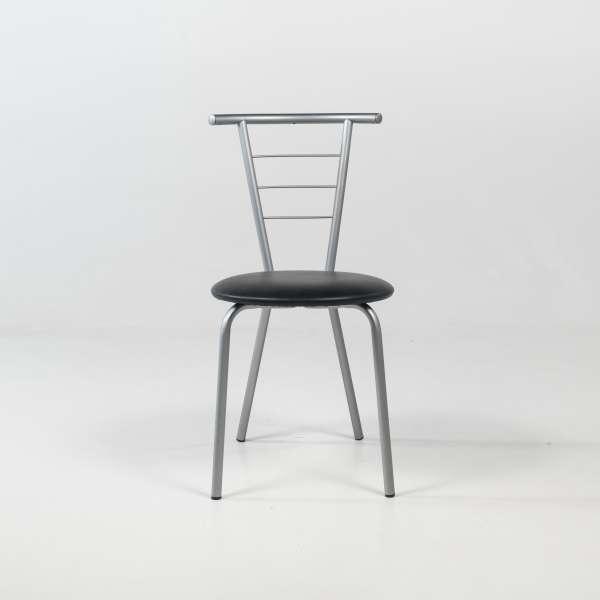 Chaise de cuisine contemporaine assise noire avec pieds et dossier en métal alu verni - Valérie - 2