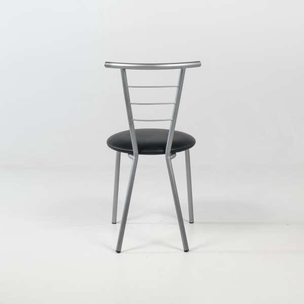 Chaise contemporaine assise noire rembourrée avec pieds et dossier en métal - Valérie - 5