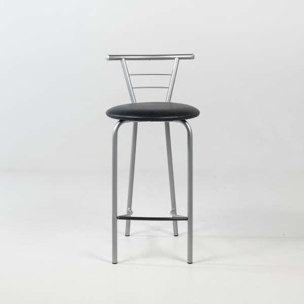 Tabouret snack contemporain avec assise noire rembourrée et structure en métal alu verni - Valérie - 2