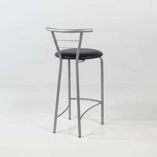 Tabouret hauteur 65 cm avec assise rembourrée noire et structure en métal alu verni - Valérie - 4