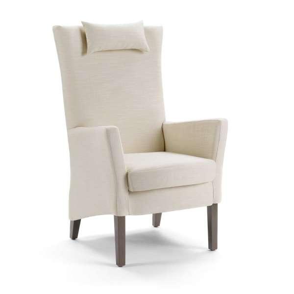 Fauteuil dossier haut en tissu blanc et bois foncé - Manhattan Uno Mobitec® - 1
