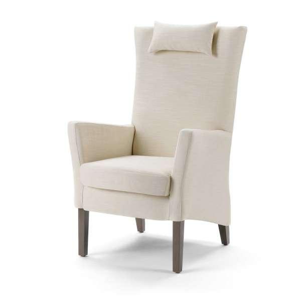 Fauteuil contemporain dossier haut en tissu blanc et bois - Manhattan Uno Mobitec® - 2