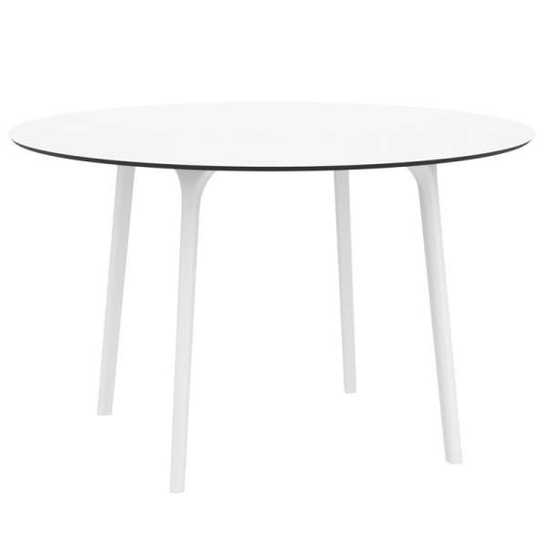 Table blanche design ronde en stratifié - Maya - 1