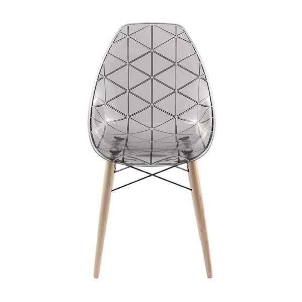 Chaise avec pieds en bois naturel et coque transparente fumée - Prisma - 7