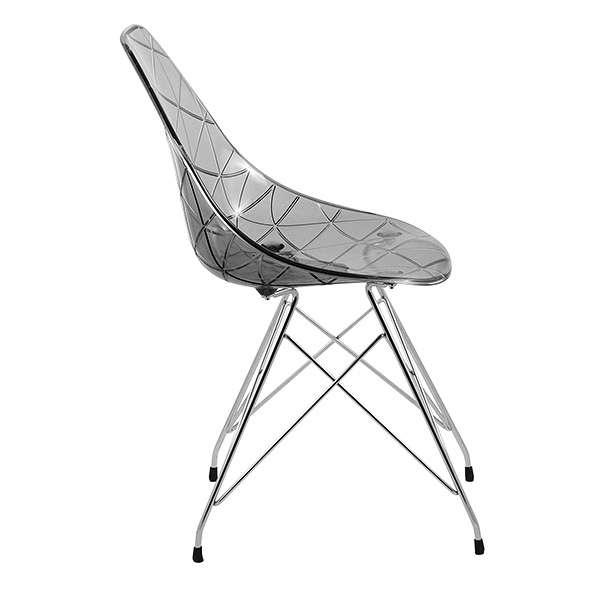 Chaise design avec pieds eiffel en métal chromé et coque transparente fumée - Prisma - 8