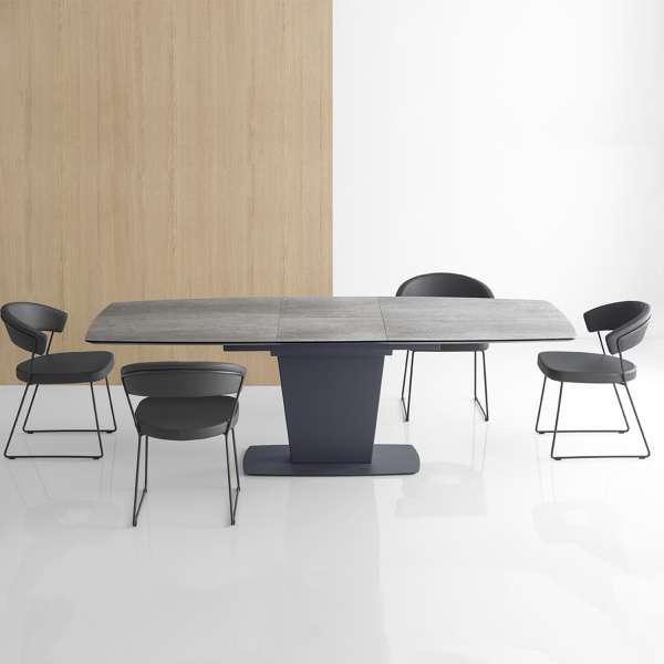 Table de salle à manger rectangulaire extensible en céramique grise - Athos Connubia® - 1