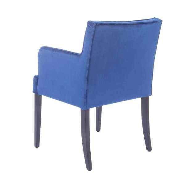 Fauteuil bleu rembourré en tissu et pieds en bois - Diem - 6