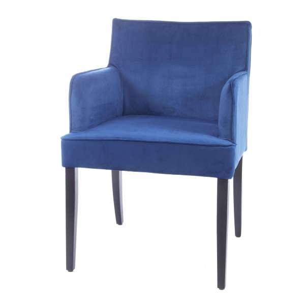 Fauteuil contemporain rembourré en tissu bleu et pieds en bois - Diem - 7