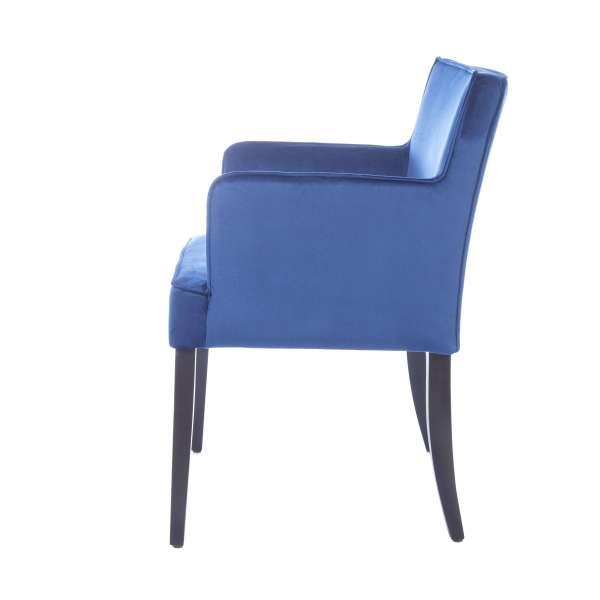 Fauteuil rembourré en tissu bleu et pieds en bois - Diem - 8