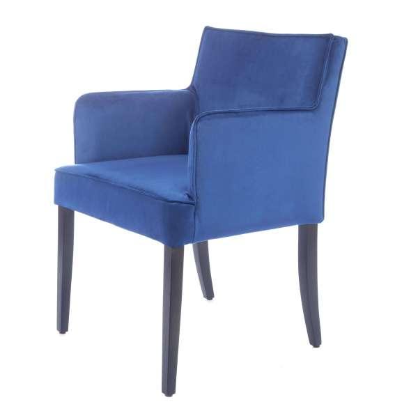 Fauteuil en tissu bleu et pieds en bois - Diem - 9