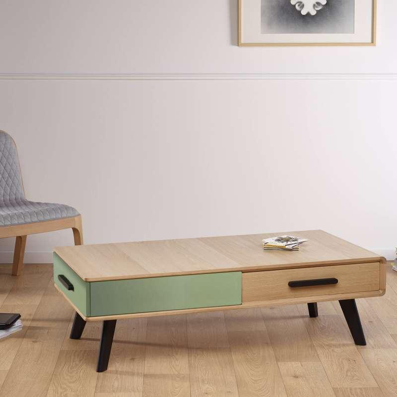 Table Basse Scandinave Avec Deux Tiroirs 120 X 60 Cm Fabriquee En