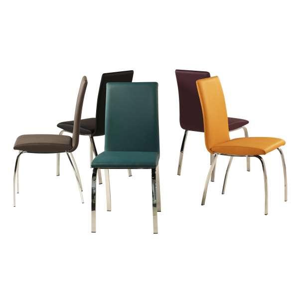 Chaise de salle à manger rembourrée colorée avec pieds en métal chromé - Dara - 11