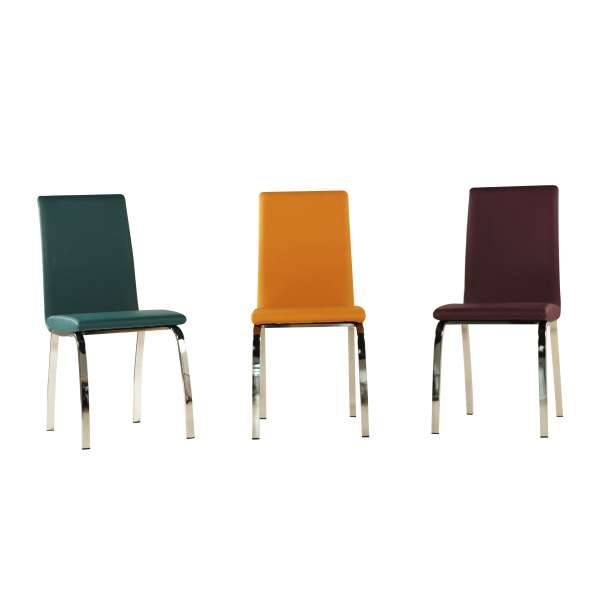 Chaise de séjour colorée avec pieds en métal chromé - Dara - 12