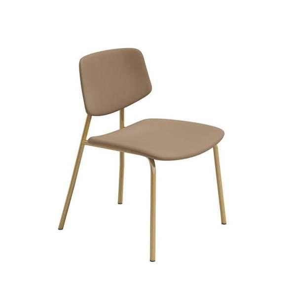 Chaise basse vintage rembourrée taupe fabrication belge pieds cuivrés - Lago - 1
