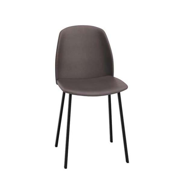 Chaise taupe moderne rembourrée avec pieds en métal - Olivia - 2