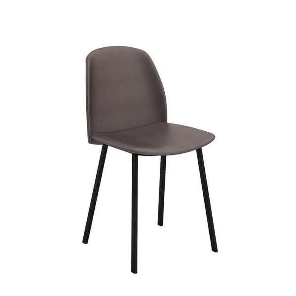 Chaise moderne rembourrée taupe avec pieds en métal - Olivia - 1