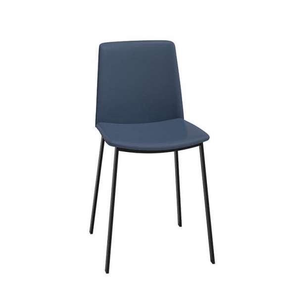 Chaise bleue rembourrée avec pieds en métal noir - Primera - 2