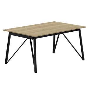 Table design extensible en stratifié bois naturel et pieds en métal noir - Wacko