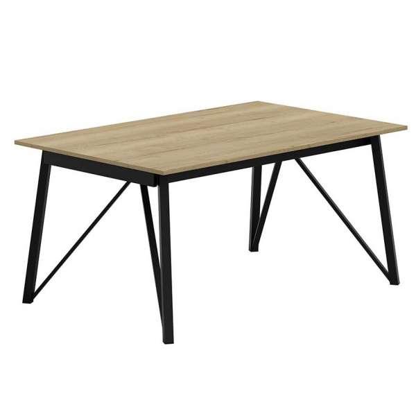 Table design extensible en stratifié bois naturel et pieds en métal noir - Wacko - 1