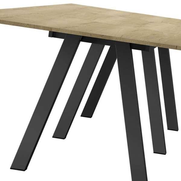 Grande table moderne plateau naturel avec six pieds en métal noir - Veneto - 4