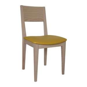 Chaise de salle à manger française rembourrée avec pieds et dossier en bois massif - Océane