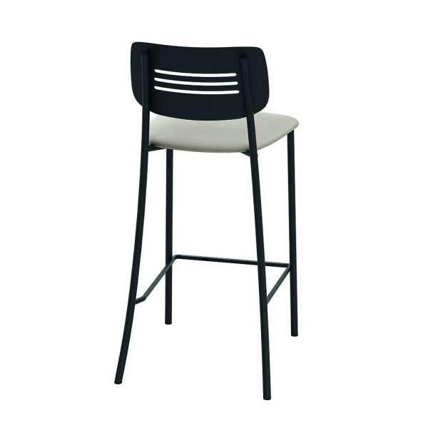 Tabouret de cuisine rembourré assise beige avec dossier strié en métal noir - Miro - 2