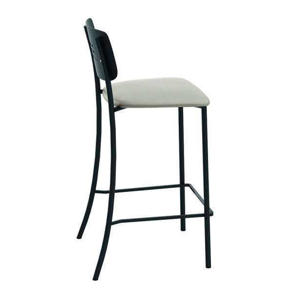 Tabouret haut de cuisine rembourré assise beige avec dossier strié en métal noir - Miro - 4