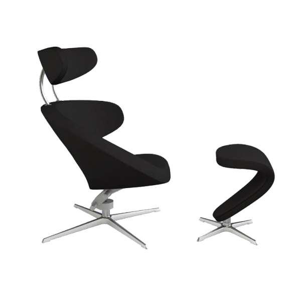 Fauteuil de relaxation tissu noir et métal chromé - Peel Varier® - 5