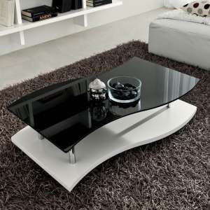 Table basse moderne bicolore en verre et mélaminé - Gaia