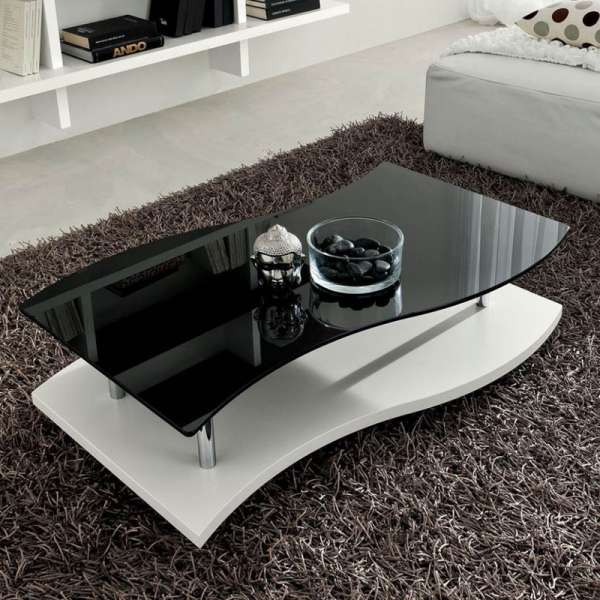 Table basse moderne bicolore en verre et mélaminé - Gaia - 1