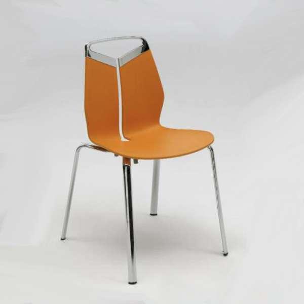 Chaise design coque polypropylène pieds orange en métal - Gripp - 1