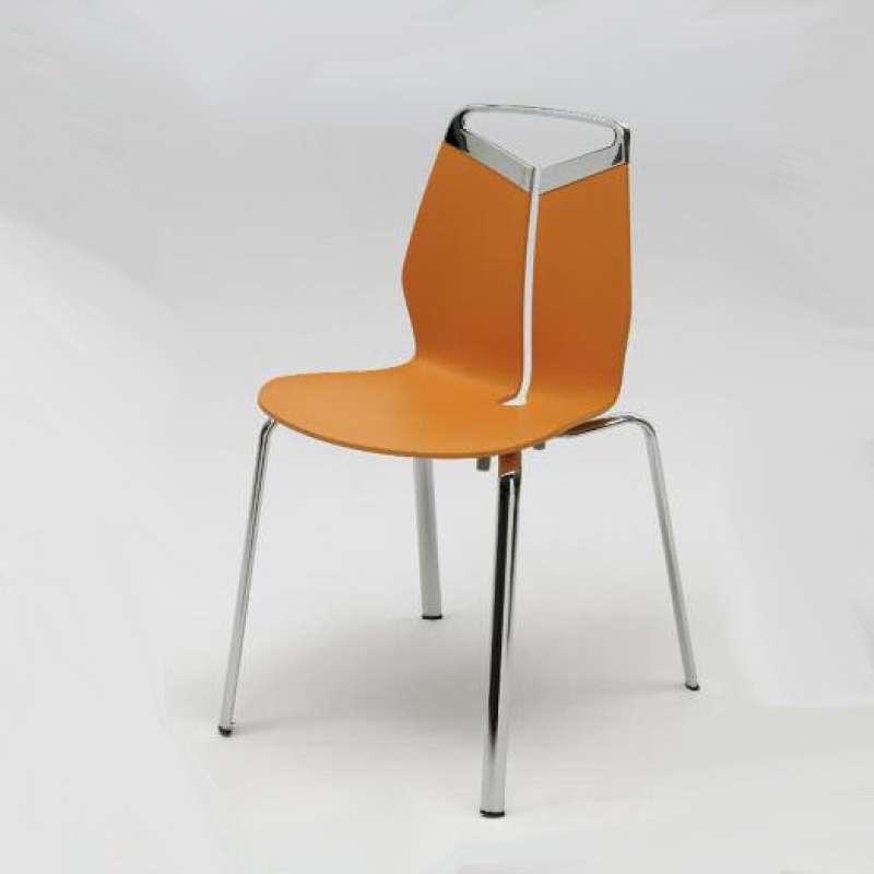 Chaise De Designer Coque Polypropylene Orange Pieds En Metal