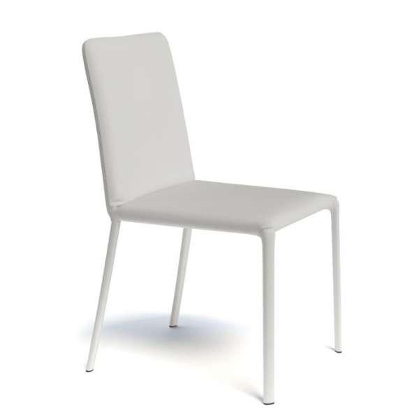 Chaise de séjour contemporaine gainée en synthétique blanc - Grinta - 6