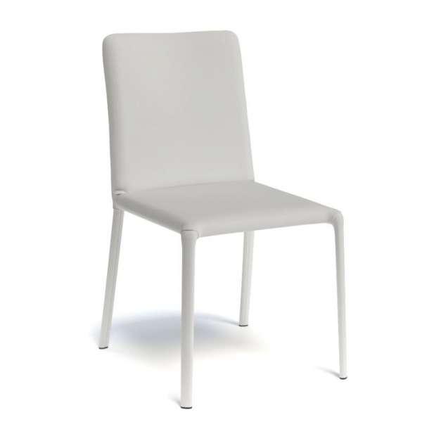 Chaise de salle à manger blanche contemporaine pieds gainés - Grinta - 5