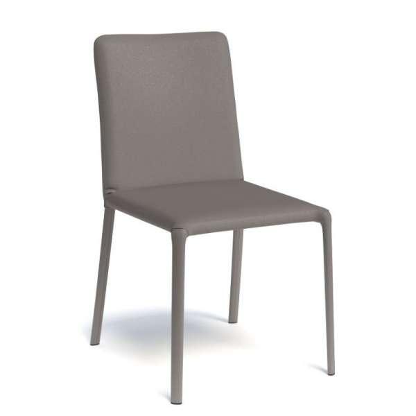 Chaise de salle à manger contemporaine gainée taupe - Grinta - 1