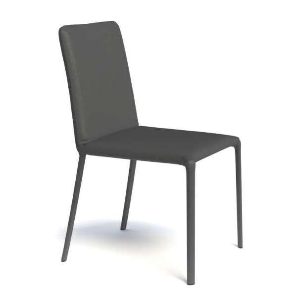 Chaise de séjour contemporaine pieds gainés en synthétique noir - Grinta - 10