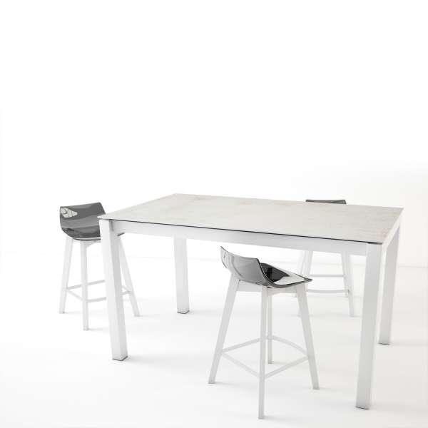 Table snack blanche en Dekton rectangulaire extensible avec pieds en métal - Lakera - 1