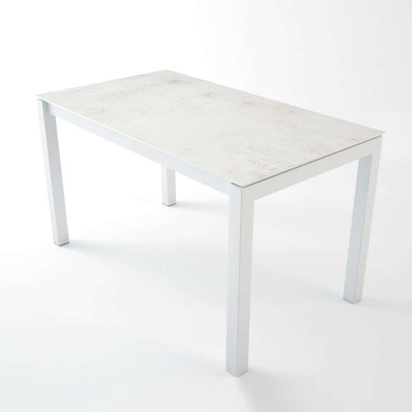 Table hauteur 90 cm en Dekton Nilium rectangulaire avec pieds en métal avec tabourets Fantasy - Lakera - 2