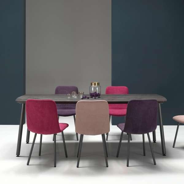 Chaise coque en tissu violet rembourrée et pieds en métal - Suzy - 5
