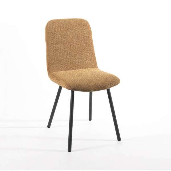 Chaise jaune en tissu rembourrée et pieds en métal - Suzy - 4